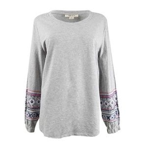 Style Co Embroidered-Sleeve Sweatshirt NEW